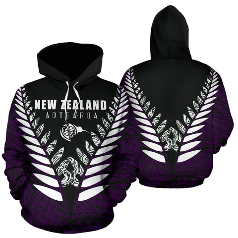 Image of New Zealand Aotearoa Silver Fern Hoodie - Purple Vline Version front and back