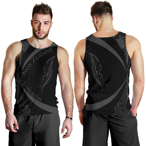 New Zealand Silver Fern Men's Tank Top Maori Tattoo Circle Style J95 - 1st New Zealand