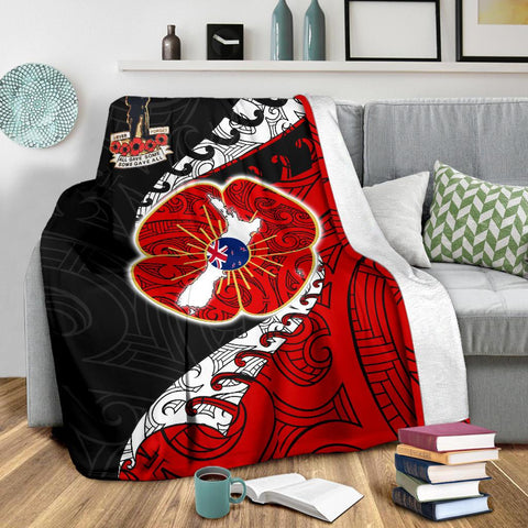 Anzac New Zealand Premium Blanket  - Lest We Forget Poppy Map Silver Fern NZ K4 - 1st New Zealand