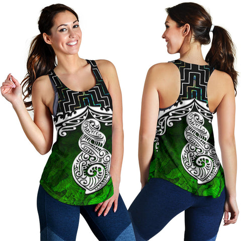 New Zealand Maori Women Racerback Tank, Poutama Pikorua Double Twist K4 - 1st New Zealand