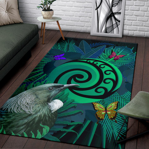 New Zealand Area Rug Koru Fern Mix Tui Bird - Tropical Floral Turquoise K4 - 1st New Zealand