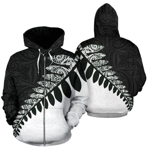 New Zealand Silver Fern™ Zip Up Hoodie Black White K4 - 1st New Zealand