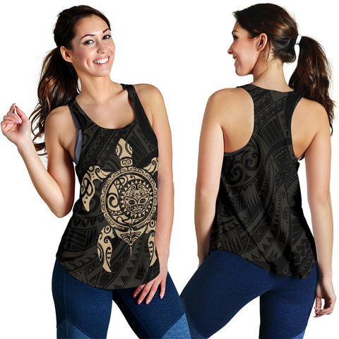 New Zealand Women Racerback Tank , Maori Turtle Tattoo - Gold K4 - 1st New Zealand