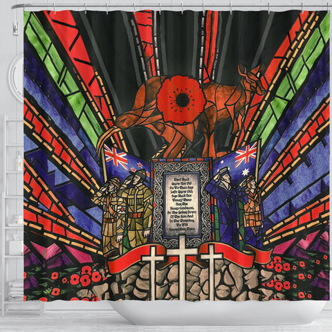 New Zealand Shower Curtain, Anzac Day Lest We Forget Australia Th00 - 1st New Zealand