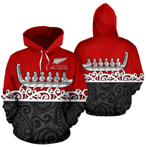 Image of New Zealand Hoodie, Maori Waka Pullover Hoodie Red K4 - 1st New Zealand