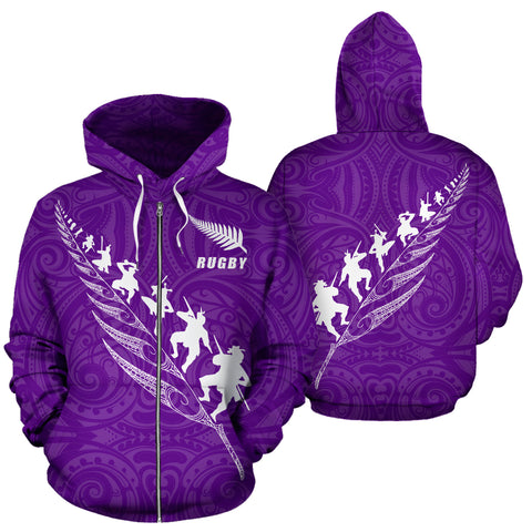 Image of Rugby Haka Fern Zip Up Hoodie Violet K4 - 1st New Zealand