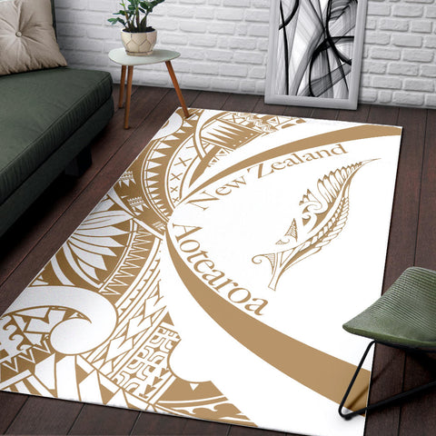 Image of New Zealand Silver Fern Area Rug Maori Tattoo Circle Style - White J95