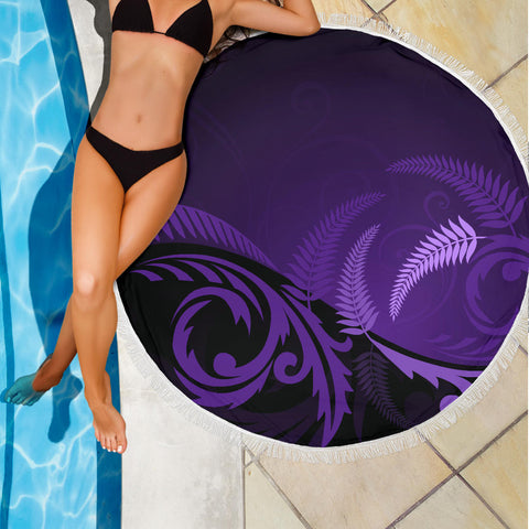 Image of New Zealand Silver Fern Beach Blanket Purple K4 Front 3
