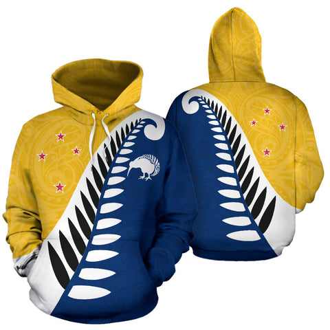 Koru Fern New Zealand Hoodie Yellow - Yellow And Navy Color - For Man And Woman