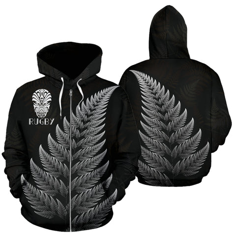 New Zealand Zip Hoodie Silver Fern Rugby Haka Face K4 - 1st New Zealand