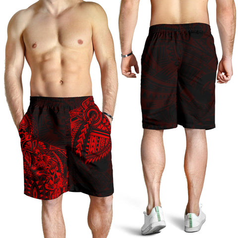 New Zealand Maori Polynesian Wolf Dragon Tattoo Men Shorts - Red K4 - 1st New Zealand