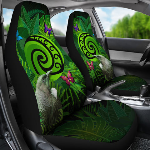 New Zealand Car Seat Covers Koru Fern Mix Tui Bird - Tropical Floral K4 - 1st New Zealand