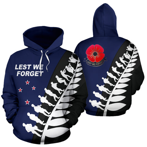 Lest We Forget New Zealand Hoodie with Navy mix Black and White - Front and Back - For Men and Women