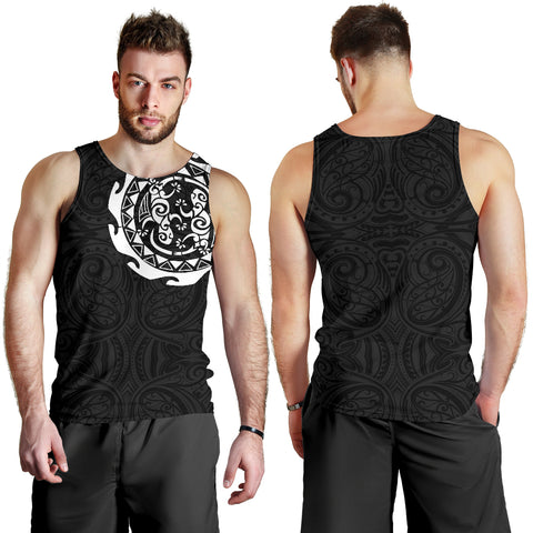 Maori Tangaroa Tattoo New Zealand Tank Tops For Men - White A75 - 1st New Zealand
