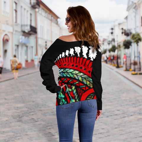 Anzac Soldiers New Zealand Off Shoulder Sweater, Poppies Lest We Forget Maori Paua K4 - 1st New Zealand