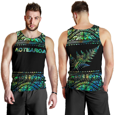 New Zealand Tank Tops, Aotearoa Maori Silver Fern Sleeveless Shirts K4x - 1st New Zealand