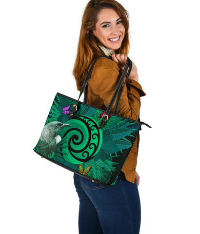 New Zealand Large Leather Tote Koru Fern Mix Tui Bird - Tropical Floral Turquoise K4 - 1st New Zealand