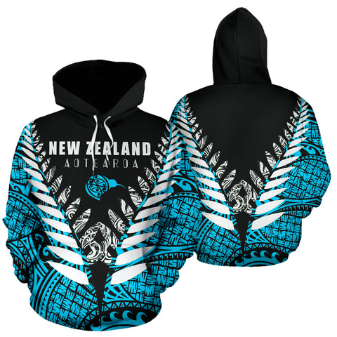 New Zealand Aotearoa Silver Fern Hoodie - Blue Vline Version front and back