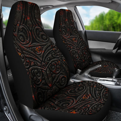 New Zealand Warriors Car Seat Covers Maori Tiki Vocalno Style Th00 - 1st New Zealand