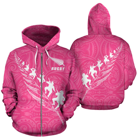 Image of Rugby Haka Fern Zip Up Hoodie Pink K4 - 1st New Zealand