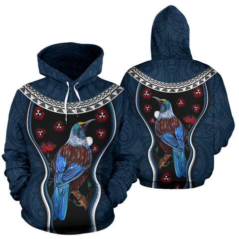 Image of New Zealand Tui Bird Hoodie, Pohutukawa Pullover Hoodie - Navy K4 - 1st New Zealand