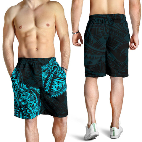 New Zealand Maori Polynesian Wolf Dragon Tattoo Men Shorts - Blue K4