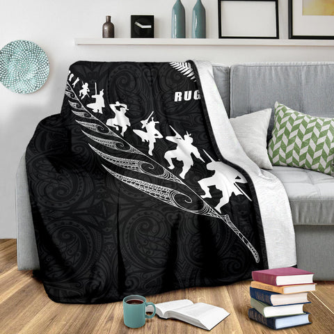 Rugby Haka Fern Premium Blanket  Black K4 - 1st New Zealand