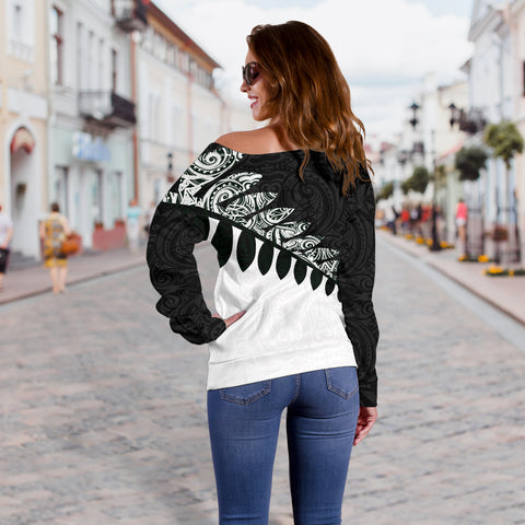 Image of New Zealand Silver Fern Off Shoulder Sweater Black White K4 - 1st New Zealand