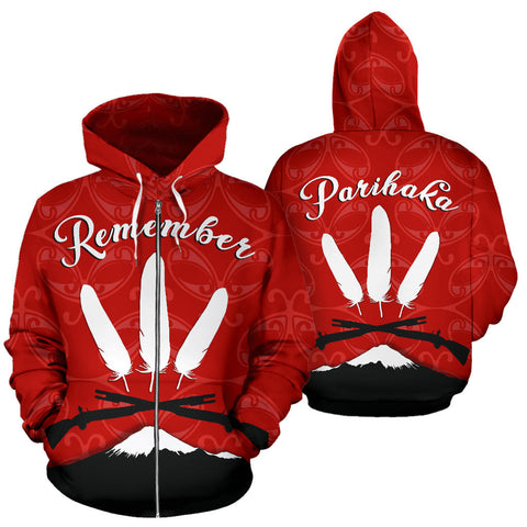 New Zealand Maori Remember Parihaka Zip Hoodie K4 - 1st New Zealand