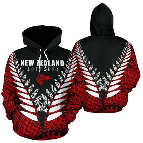 Image of New Zealand Aotearoa Silver Fern Hoodie - Red Vline Version front and back
