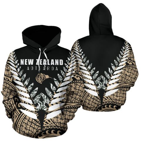 New Zealand Aotearoa Silver Fern Hoodie - Gold Vline Version front and back