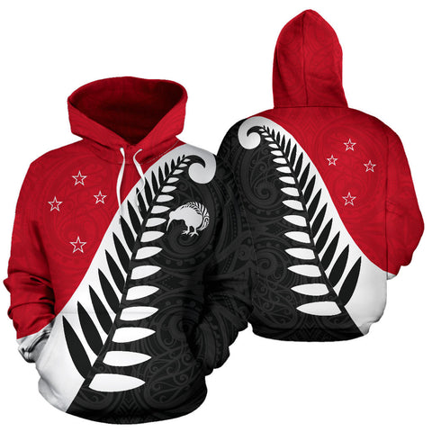 Koru Fern New Zealand Hoodie - Red And Black Color - For Man And Woman