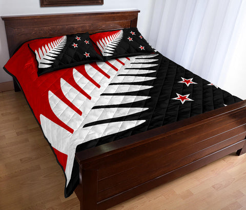 New Zealand Flag Silver Fern Black, White and Red Quilt Bedding Sets K54 - 1st New Zealand