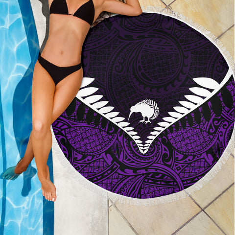 Image of Kiwi Fern Beach Blanket Purple K4 - 1st New Zealand