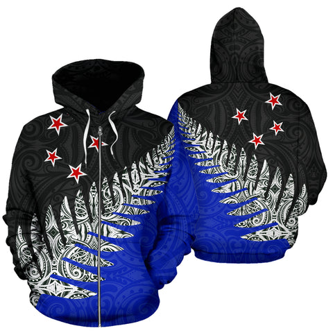 New Zealand Silver Fern™ Pullover Zip Up Hoodie 02 K4 - 1st New Zealand