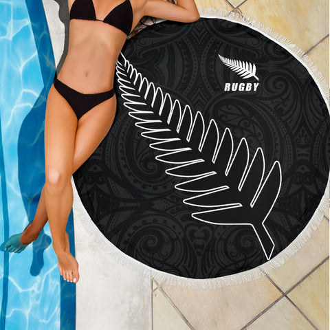 Silver Fern Rugby Beach Blanket K4 Front 3