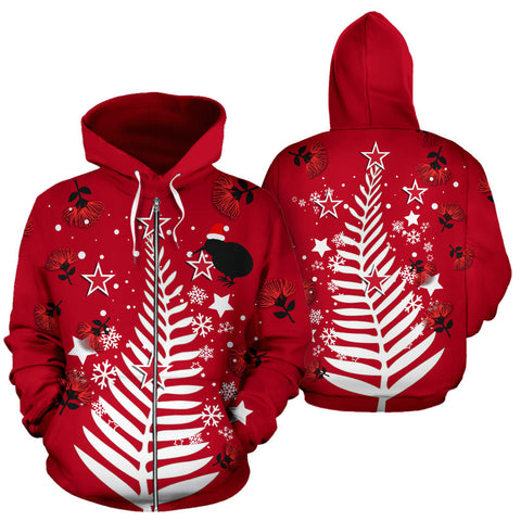 Image of New Zealand Zip Hoodie Silver Fern Christmas Tree K9 - 1st New Zealand