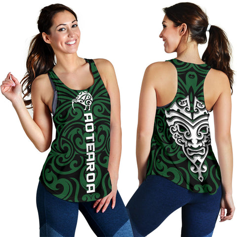 New Zealand Women Racerback Tank, Maori Warrior Moko K4 - 1st New Zealand