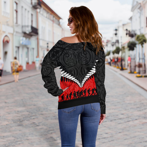 Image of New Zealand Anzac Day Off Shoulder Sweater, Lest We Forget Silver Fern Red K4 - 1st New Zealand