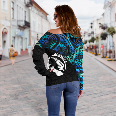 New Zealand-Aotearoa Women's Off Shoulder Sweater Paua Shell Silver Fern With Map Th5 - 1st New Zealand
