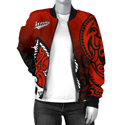 Lest We Forget - Maori Poppy Pullover Women's Bomber Jacket Th00 - 1st New Zealand