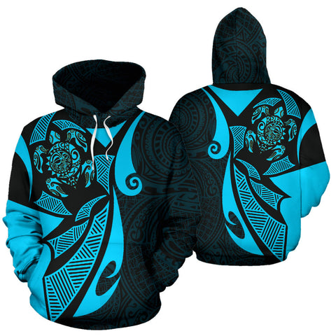 Maori Turtle Hoodie - Blue Color - For Man And Woman