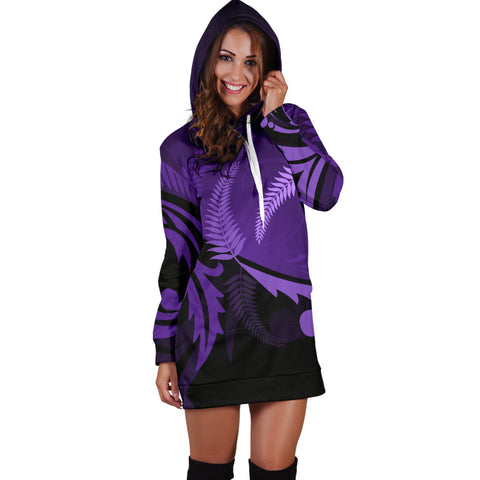 New Zealand Silver Fern Hoodie Dress Purple - 1st New Zealand
