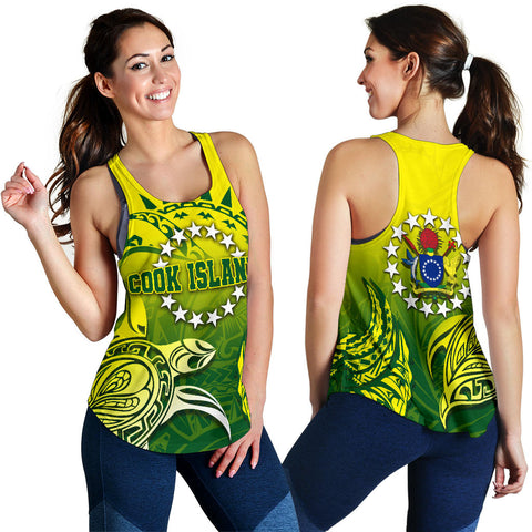 Cook Islands Women Racerback Tank, Kuki Arirani Turtle Polynesian K4 - 1st New Zealand