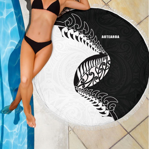 Beach Blanket NZ Aotearoa Rugby Fern Black White K4 - 1st New Zealand