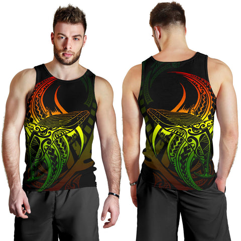 Maori Men Tank Top Humpback Whale Tattoo Rasta front and back