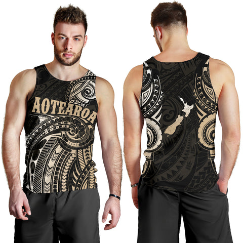 Maori Tattoo with Map New Zealand Tank Tops For Men K4 - 1st New Zealand