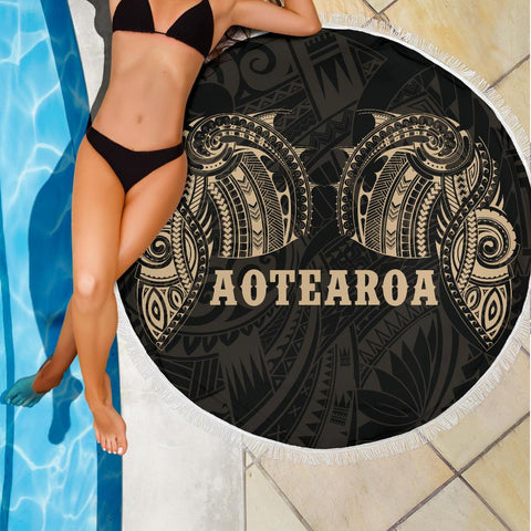 Aotearoa Maori Tattoo Beach Blanket Golden K4 - 1st New Zealand
