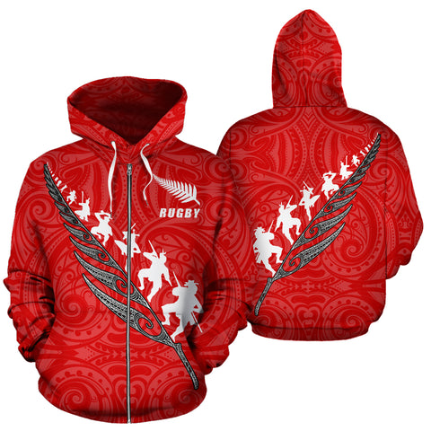 Rugby Haka Fern Zip Up Hoodie Red front and back