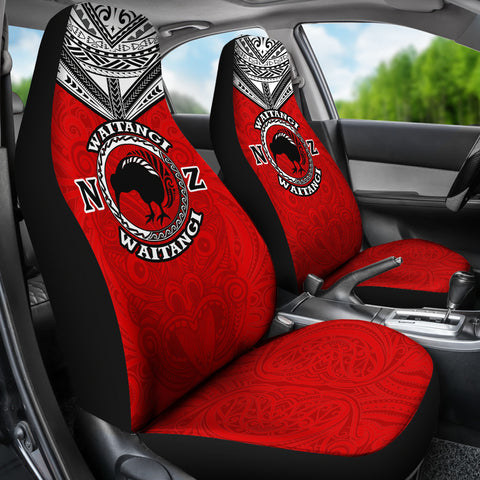 Image of New Zealand Maori Car Seat Covers Waitangi Day - Red K5 - 1st New Zealand